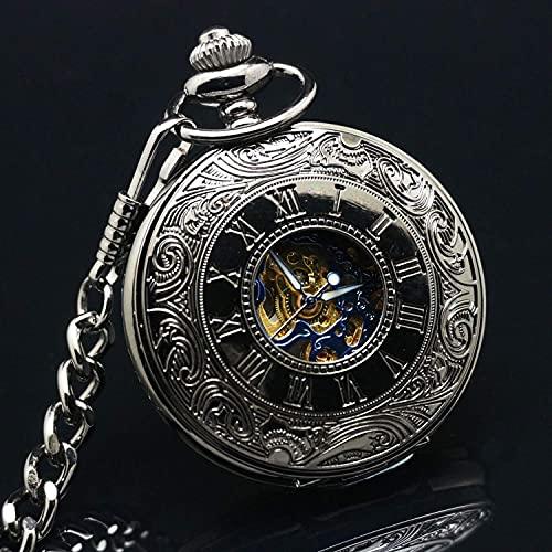 Reloj de Bolsillo, Reloj de Bolsillo mecánico de Superficie Azul de Acero de tungsteno Romano Negro, Reloj de Bolsillo mecánico con Tapa Retro, Reloj de Bolsillo, Escala Romana, Collar de ho