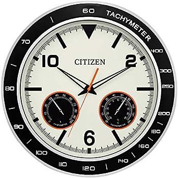 Citizen Outdoor Black & Silver-Tone Wall Clock