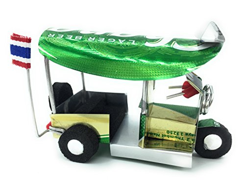 WD store Thai tuktuk classic handmade Thai TUK TUK taxi made ofChang beer can aluminium model Collection show in room home office or great gift all seasion put in round plastic clear box 2 set