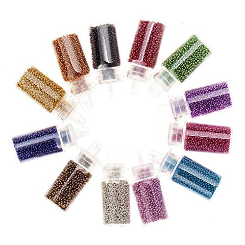 SODIAL Kit Decorations Nailart de mini perles caviar & paillettes Nail Art en 12 couleurs assorties par