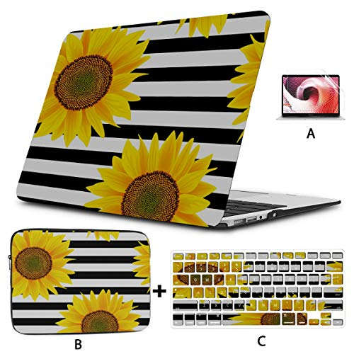2017 MacBook Pro Case Sunflowers On A Striped Black and White MacBook Computer Case Hard Shell Mac Air 11'/13' Pro 13'/15'/16' with Notebook Sleeve Bag for MacBook 2008-2020 Version