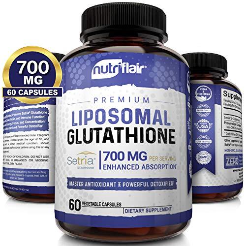 NutriFlair Liposomal Glutathione Setria® 700mg - Pure Reduced, Stable, Active Form L Glutathione reductase (GSH), Enhanced Absorption - Non GMO Antioxidant, Detox, Cardiovascular, Brain, Immune Health