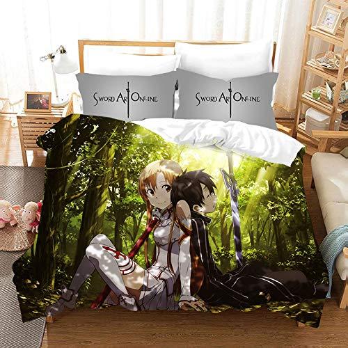 YOMOCO Sword Art Online Bettbezug Bettwäsche Set - Bettbezug und Zwei Kissenbezug,Mikrofaser,3D Digital Print dreiteiliger Bettwäsche (07,Single 135x200cm)
