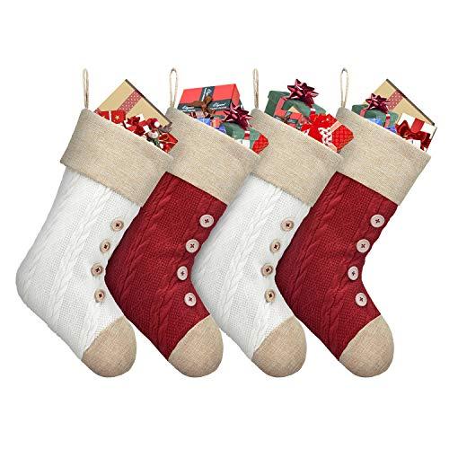 Duosheng & Elegant Knit - Juego de 4 Calcetines navideños para Colgar en el árbol de Navidad, De Punto, Red+Ivory, Talla única