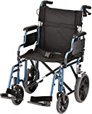 """NOVA Lightweight Transport Chair with Locking Hand Brakes, 12"""" Rear Wheels, Removable & Flip Up Arms for Easy Transfer, Anti-Tippers Included, Blue"""