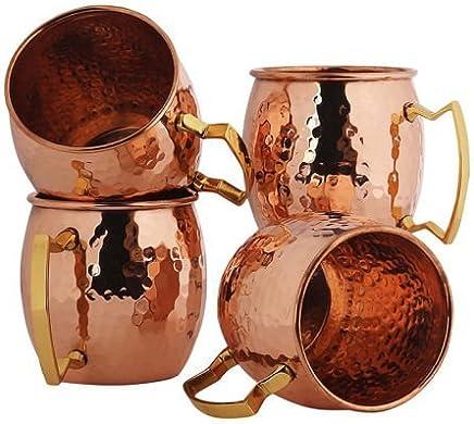 Preisvergleich für Zap Impex Reines Kupfer Moscow Mule Cup, Keine Beschichtung, gehämmerten Kupfer, Ideal für Alle gekühlten Getränk Blendend zu Unterhalten und Bar Oder zu Hause, große Bar Geschenk-Set von 4