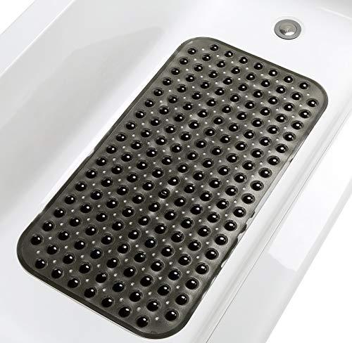 "TIKE SMART Large Non-Slip Bathtub & Shower Mat 31""x16"" (Smooth/Non-Textured Tubs Only) Safe, Clean, Machine-Washable, Superior Grip&Drainage, Vinyl, Transparent Black"