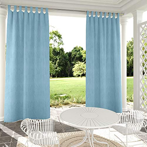 Clothink Outdoor Curtain Panel Blue 50x84 inch Tap Top Waterproof Thermal Insulated Blackout Outdoor Curtain Drape for Patio Porch