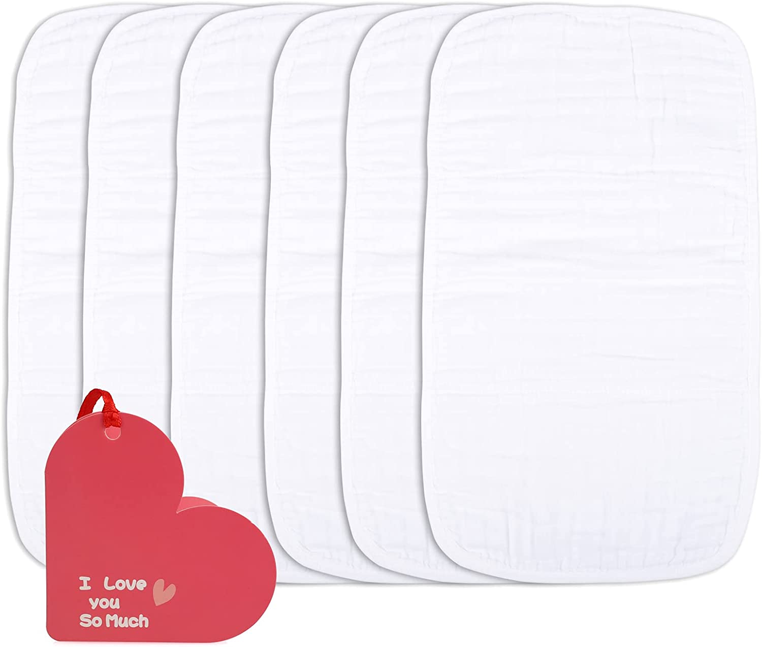 Muslin Baby Burp Cloths 6 Pack Burp Cloth Sets for Unisex 20 by 10 Inches 6 Layers Baby Burping Rags for Boys and Girls
