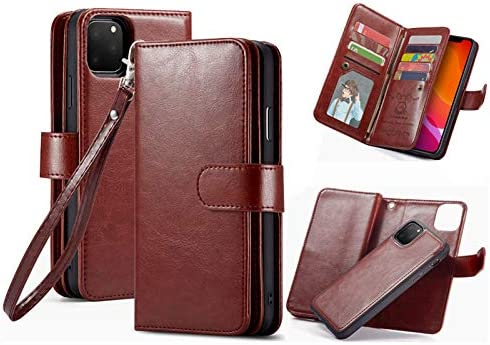 iPhone 11 Wallet Case,HYSJY PU Leather Detachable Magnetic Women with 9 Card Slots Wrist Strap Removable Shockproof Slim Cover for iPhone 11 6.1 inch (9-Brown, iPhone 11)