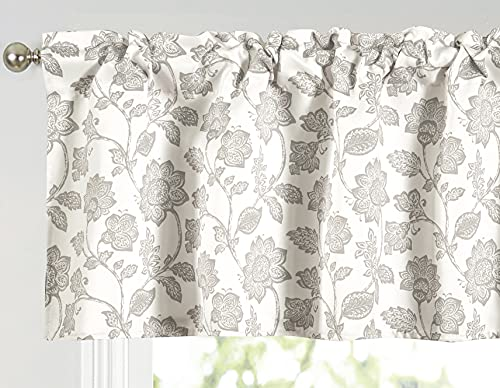 Annlaite Valance for Windows Valance Floral Printed for Kitchen Living Room Thermal Insulated Energy Saving Window Curtain Valance for Living Kitchen Rod Pocket 52 by 18 Inch Beige