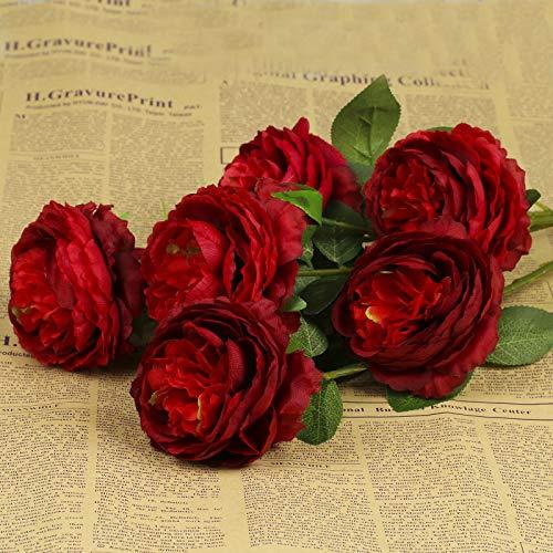 vLoveLife Lot de 6 paquets de 3 têtes de pivoines artificielles en soie 66 cm de long Faux fleurs artificielles en plastique pour maison, jardin, fête, mariée, décoration de centre de table, Red, 26''