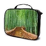 Kyoto Japón Bamboo Forest Road Green Plants Tree Travel Bolsa de Maquillaje para Mujer Bolsa de Aseo para Mujer Bolsa de Maquillaje para niños Bolsa Impresa multifunción para Mujer