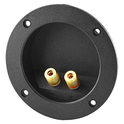 BestPlug Audio Lautsprecher Boxen Einbau-Buchse Terminal rund, vergoldet, Schwarz