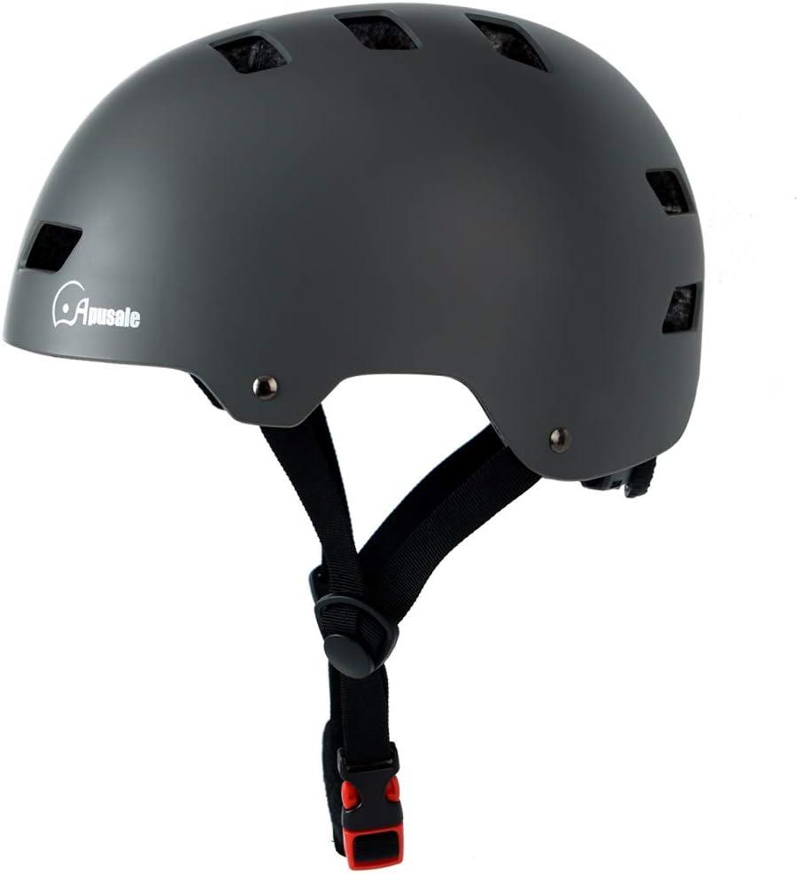 Apusale Skateboard Helmet,Kids Youth Adult Bike Helmet,for Scooter Cycling Roller Skate,Commuter,3 Adjustable Size for Child Men Women,CPSC Certified