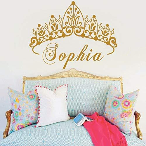 hetingyue baby meisjes kroon vinyl kunst muursticker prinses aangepaste kleuterschool meisjes naam kunst slaapkamer decoratie sticker
