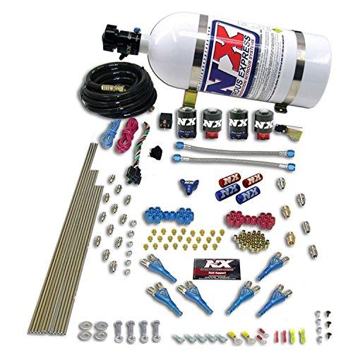 Nitrous Express 90065-10 200-600 PS 8-Zylinder Alcohol Pro Shark Direct Port System mit 4 Magnetspulen und 4,5 kg Flasche