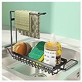 Joly Home Organizador de Fregadero de Cocina, Set Organizador Cocina, Jabonera de Cocina, Dispensador de Detergente, Organizador Sink Soporte de Esponja con Toallero Soporte