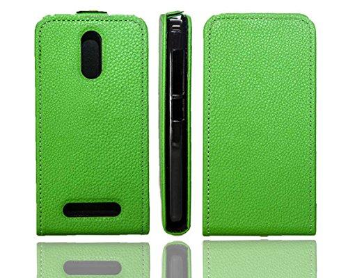 caseroxx Flip Cover & Bildschirmschutzfolie für Archos 45 Neon, Set (Flip Cover in grün)