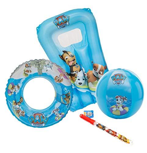 TrendyMaker Paw Patrol Schwimmset, Badeset, Strandset - Wasserball, Schwimmring, Luftmatratze und Riesen Seifenblase, passend für Kinder