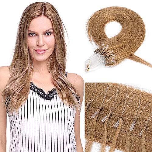 Microring Extensions Echthaar Nanoring Extensions Echthaar 0,5g Weich Natürlich Haarteil Glatt Haarverlängerung 100% Remy Hair 50g 55cm-27# Dunkelblond