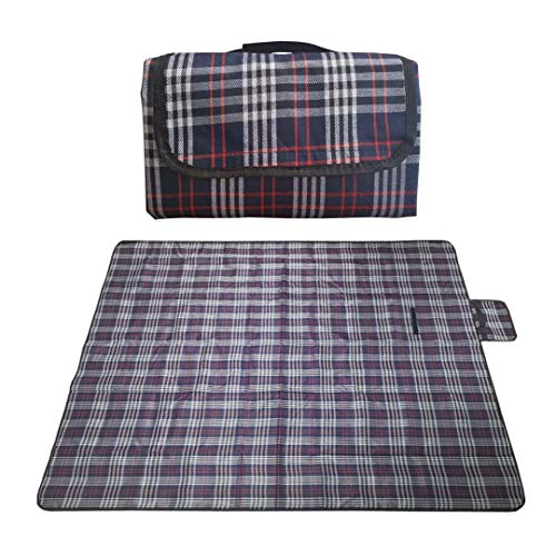 RealPero Large Outdoor Waterproof Picnic Blanket Foldable Handy Tote Bag Compact Plaid Washable Sand Proof Mat for Beach Travel Camping on Grass 6070quot Color 3
