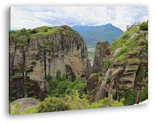 deyoli atemberaubende Meteora Landschaft in Griechenland Effekt: Zeichnung im Format: 60x40 als Leinwandbild, Motiv auf Echtholzrahmen, Hochwertiger Digitaldruck mit Rahmen, Kein Poster