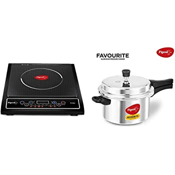 Pigeon by Stovekraft Cruise 1800-Watt Induction Cooktop (Black) & Favourite Induction Base Aluminum Pressure Cooker with Outer Lid, 5 Litres, Silver Combo