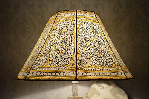 Tropical Floral Lampshade | Hand Painted Leather Yellow Lamp Shade | Unique Mandala pattern inspired Lamp Shade - H-9.5 and W-16 inches