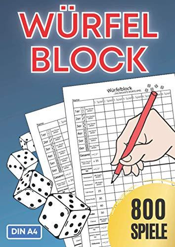 Würfelspiel Gewinnblatt DIN A4 XXL für 800 Spiele: Würfelblock | Spielblatt | Spielblock | Ersatzblock | Familienspiele | Urlaubsspiel