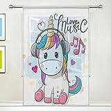 ISAOA Cortina de tul transparente, diseño de unicornio con auriculares, para...