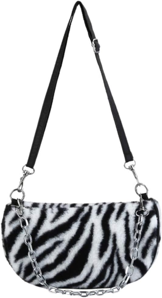 Amosfun Clutch Shoulder Bag Zebra Pattern Winter Handbags with Chain Casual Shoulder Bag Hobo Handbags Work Tote Big Capacity Handbag for Girl Shopping School Outdoor