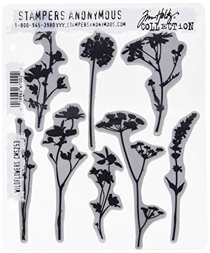 Stampers Anonymous CMS253 Wildflowers Tim Holtz Cling Stamps, 7' by 8.5', Clear