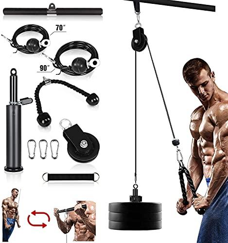 Kacsoo 10-Teiliges Seilzug Fitness Seilzug Kabelsystem, Heimtrainings-Fitnessgeräte, Unterarm-Handgelenkrollen-Trainer Armkrafttraining für Pulldowns, Bizeps-Curl, Trizeps-Verlängerungen