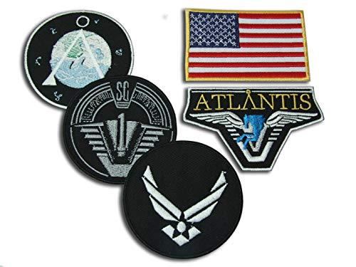 Stargate SG1 Atlantis Set mit 5 Hauptmannschafts-Prop Jacken-Abzeichen, Haken- und Schlaufen-Verschluss, Aufnäher: SG-1, Chevron, US-Flagge, Atlantis & USAF