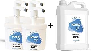 Paxontac Desinfecterende Handgel - 500 ml 4x met Hervulbare Pomp + 4 liter Navulling - Grootverpakking - Droogt snel en pl...