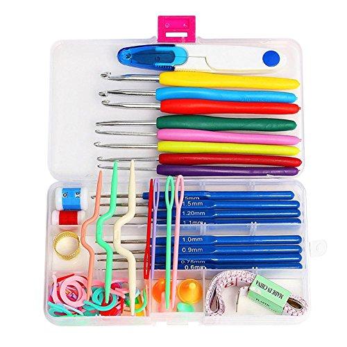 Childplaymate 16 agulhas de crochê de aço de tamanhos misturados, agulhas e pontos, estojo de crochê para artesanato