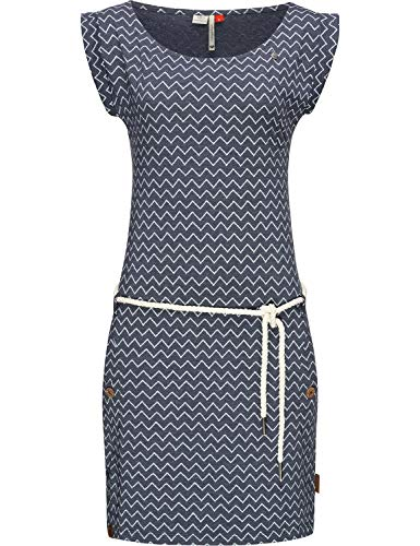 Ragwear Damen Baumwollkleid Jerseykleid Sommerkleid Strandkleid Tag Zig Zag Navy20 Gr. M