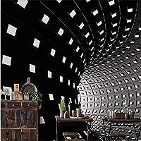 Iusasdz カスタム壁紙3D白黒時間とスペースランプテレビ背景壁リビングルーム寝室レストランホテル壁画350X250Cm