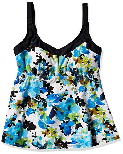 Maxine Of Hollywood Women's Deluxe Bra Cup Underwire Tankini Swimsuit Top, Multi//Royal Roses, 16D