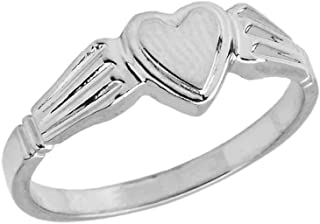 Elegant Sterling Silver Ladies Solid Heart-Shaped Signet Ring