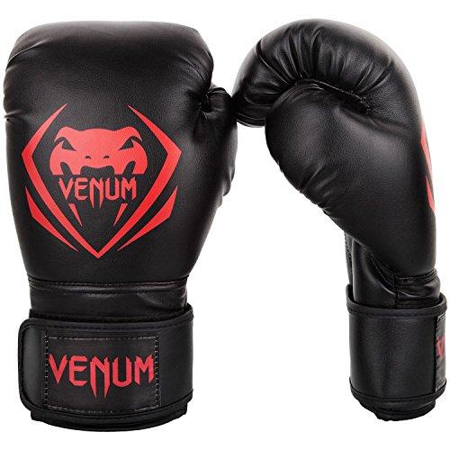 VENUM Contender Boxing Gloves Guantes para Boxeo, Unisex-Adult, Negro/Rojo, 10 Oz
