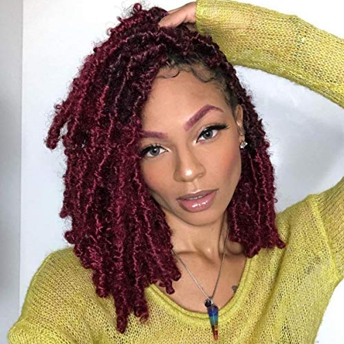 7 Packs Butterfly Locs Crochet Hair 12 Inch Pre-looped Bob Distressed Locs Soft Faux Locs Crochet Braids Butterfly Loc Twist Braiding Hair Synthetic Hair Extensions for Women (12Strands/Pack;BUG#)