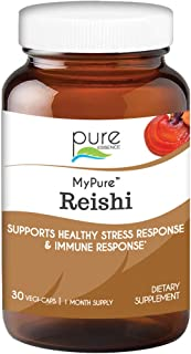 Pure Essence Labs MyPure Reishi Organic Mushrooms Supplement - 100% Real Mushroom Extract for Immune Support, Stress Relie...