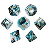 Polyhedral Dice, Transparent Teal and White Gem DND Dice Set-7Pieces for RPG MTG Table Games Dice with Velvet Dice Bag