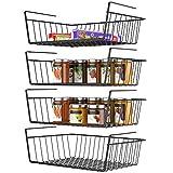 Under Shelf Basket, Veckle 4 Pack Wire Basket Hanging Shelf Basket Under Shelves Storage Rack for Kitchen Slide-in Black