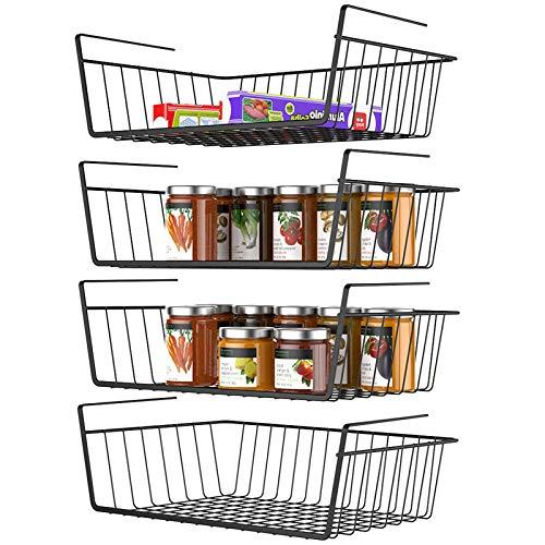 Under Shelf Basket Veckle 4 Pack Wire Basket Hanging Shelf Basket Under Shelves Storage Rack for Kitchen Slide-in Black