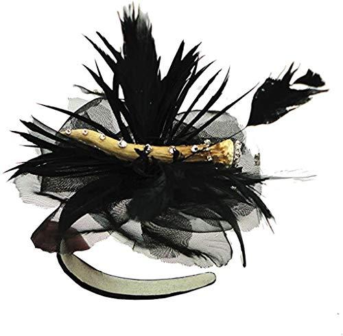 Faustmann klederdrachthaarsieraad haarband zwart met veren en hertshoorn strass