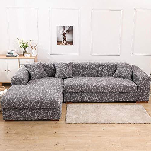 Sofá Lavable Fundas de sofá Fundas para Sala de Estar Serie Jacquard en Relieve Protector elástico de Muebles-Gris_4_peoplesition:235-300cm