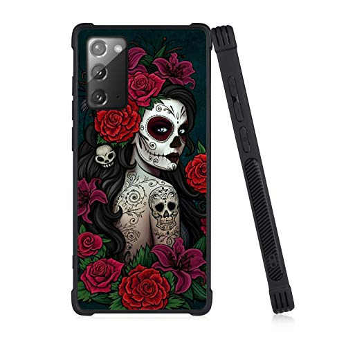 Samsung Galaxy Note 20 5G Case, Black Reinforced Corners Shockproof Bumper Case Compatible with Samsung Galaxy Note 20 6.7in Sugar Skull Girl Protective Case